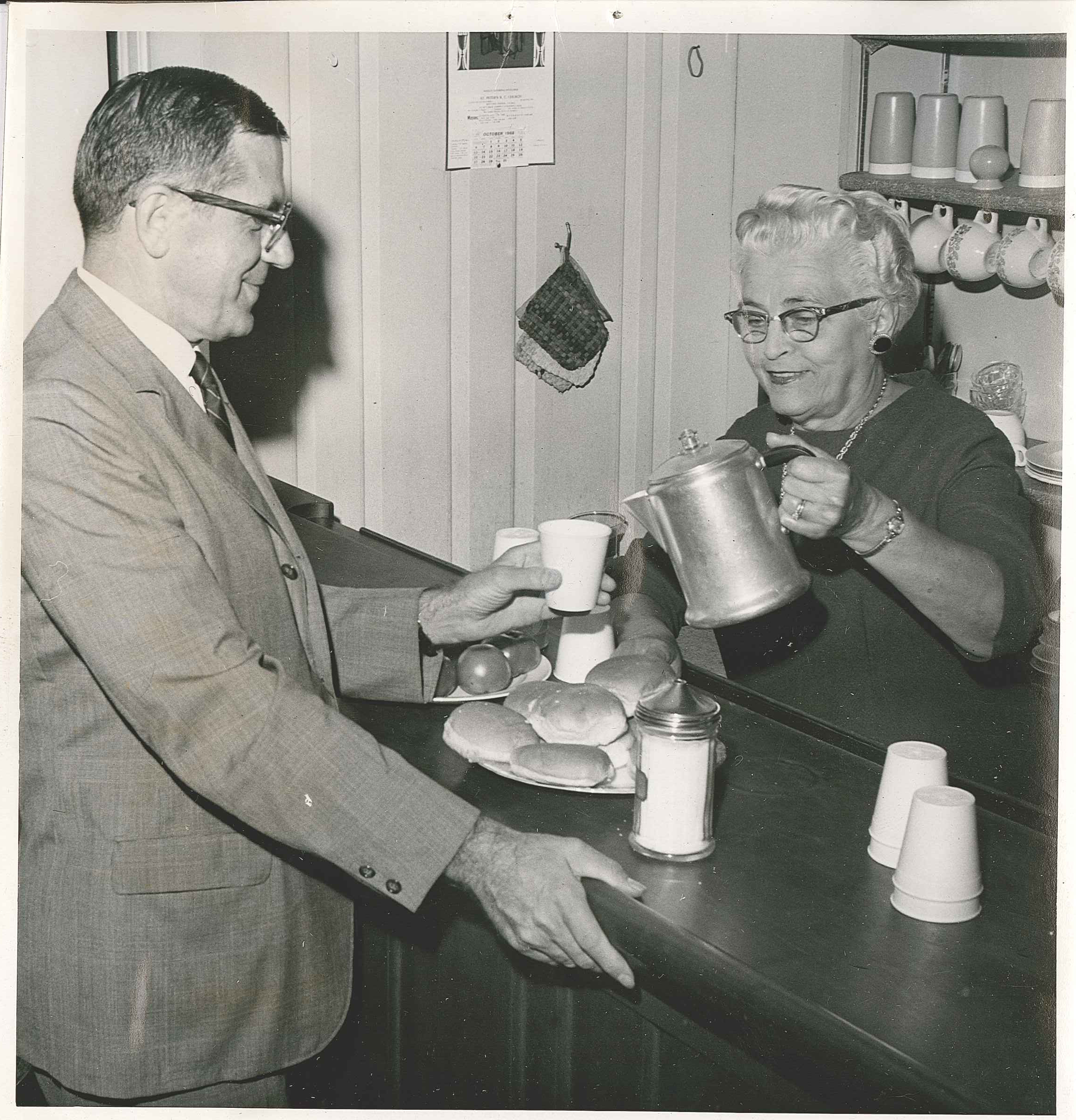 1968: coffee service in the first headquarters of the Berks County Senior Citizens Council, in the basement of the Berkshire Hotel